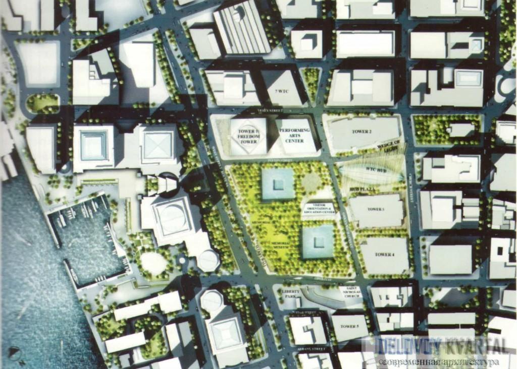 Эскиз проекта нового комплекса Всемирного торгового центра
