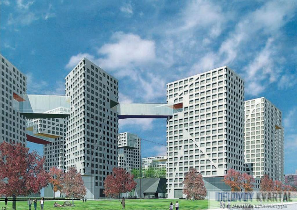 Восемь башен Linked Hybrid соединены мостом на уровне 20-го этажа. Пекин, Китай, 2004 г. Арх. Стивен Холл