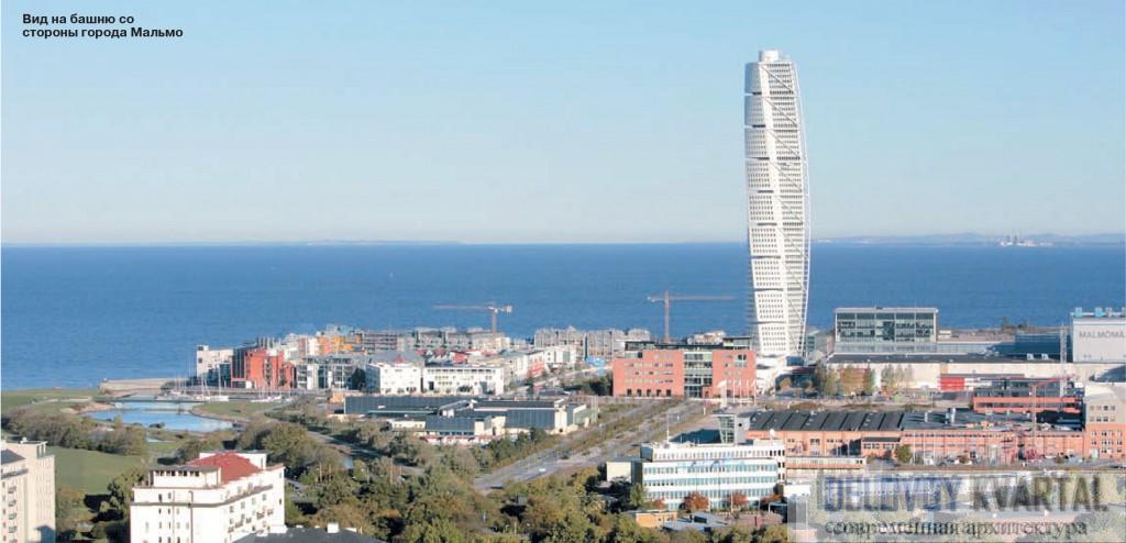 Вид на башню со стороны города Мальмо. Turning Torso