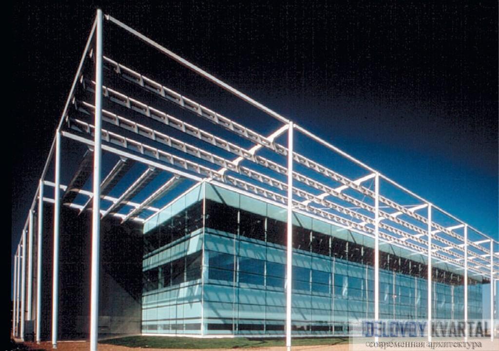 Офисно-исследовательский комплекс «B8 Стокли- парк». Солнцезащита и общий вид. Лондон, Арх. Ian Ritchie