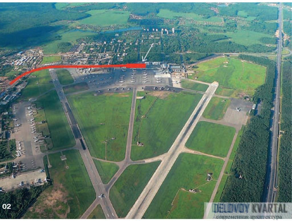 Расположение железнодорожной ветки и конечной станции на съемке с воздуха зоны аэропорта «Внуково»
