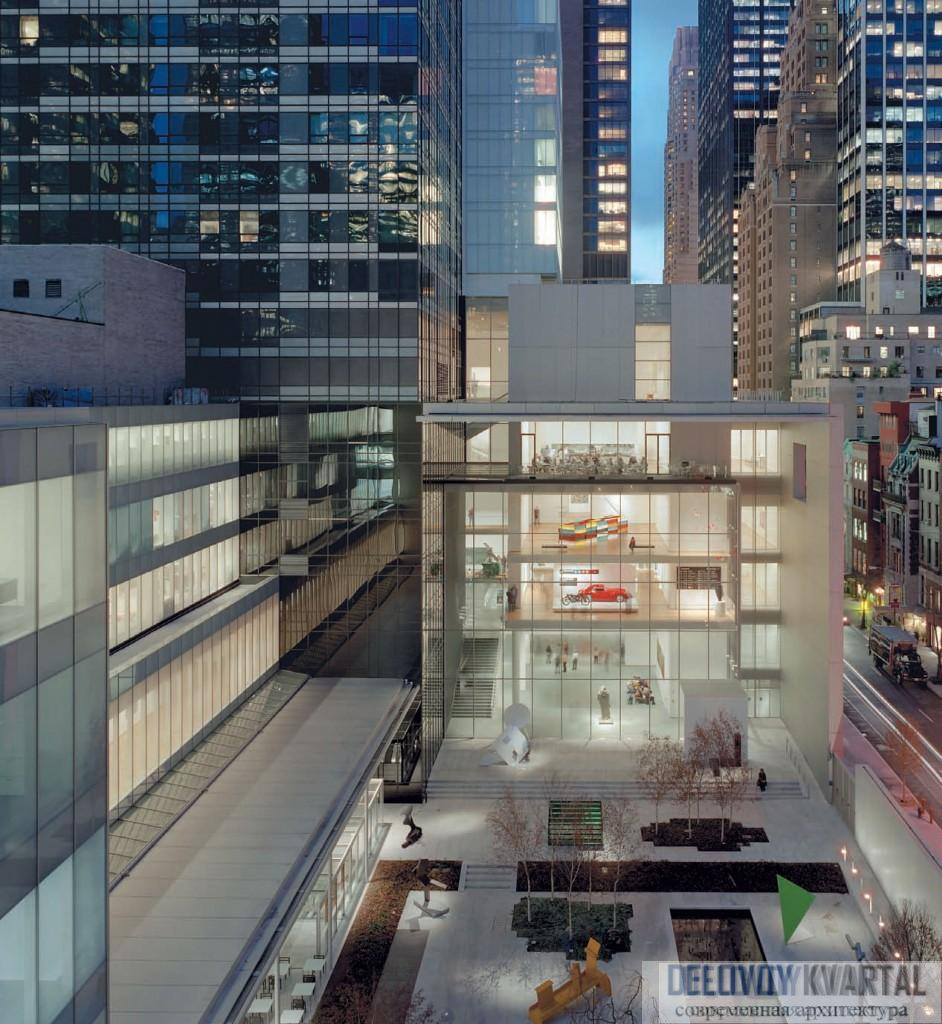 Вид на скульптурный сад, галереи, Museum Tower и перспективу вдоль 54-й Стрит