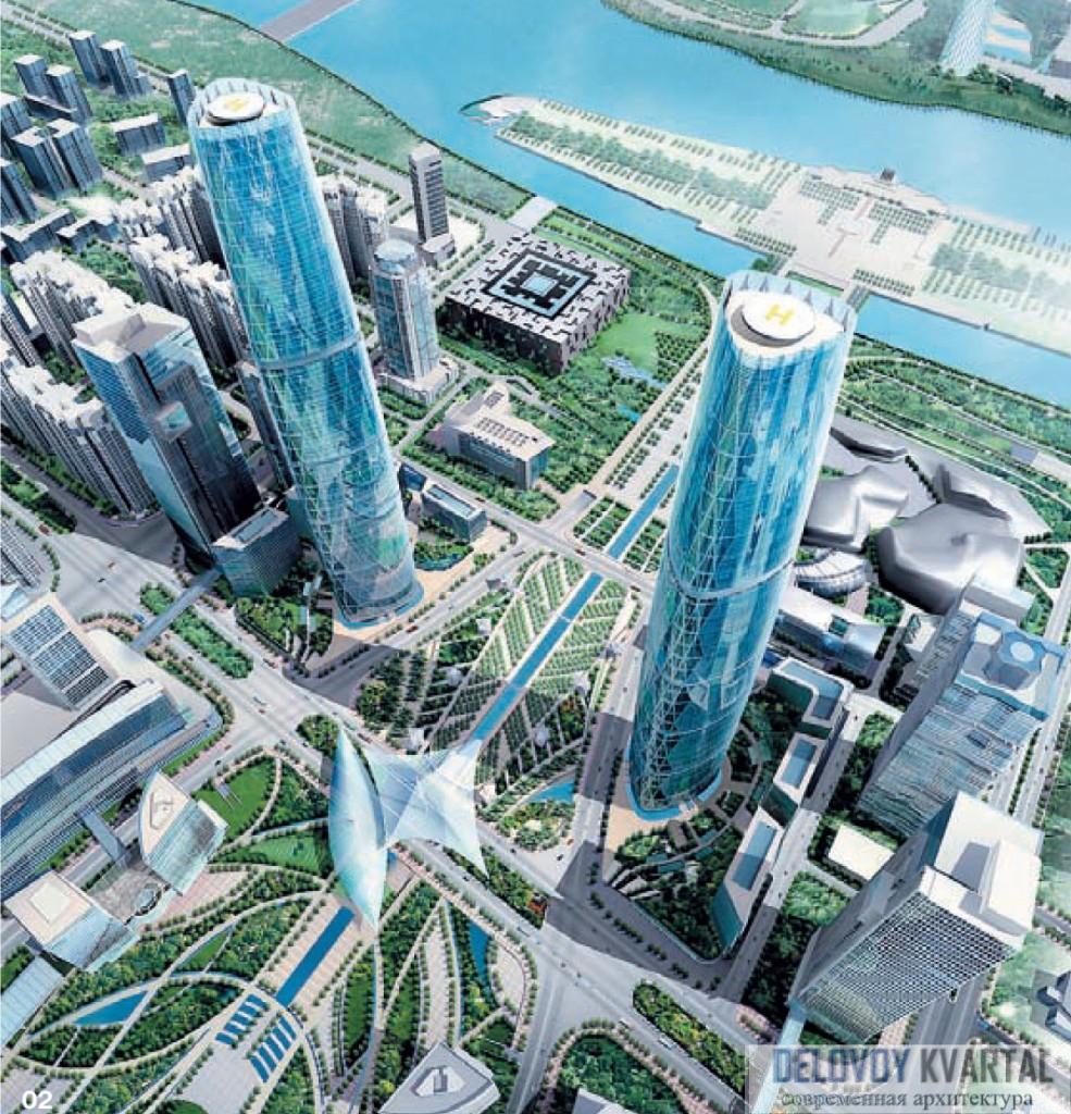 Общий вид и атриум Twin Towers. Гуанчжоу, Китай. Высота – 400 м.