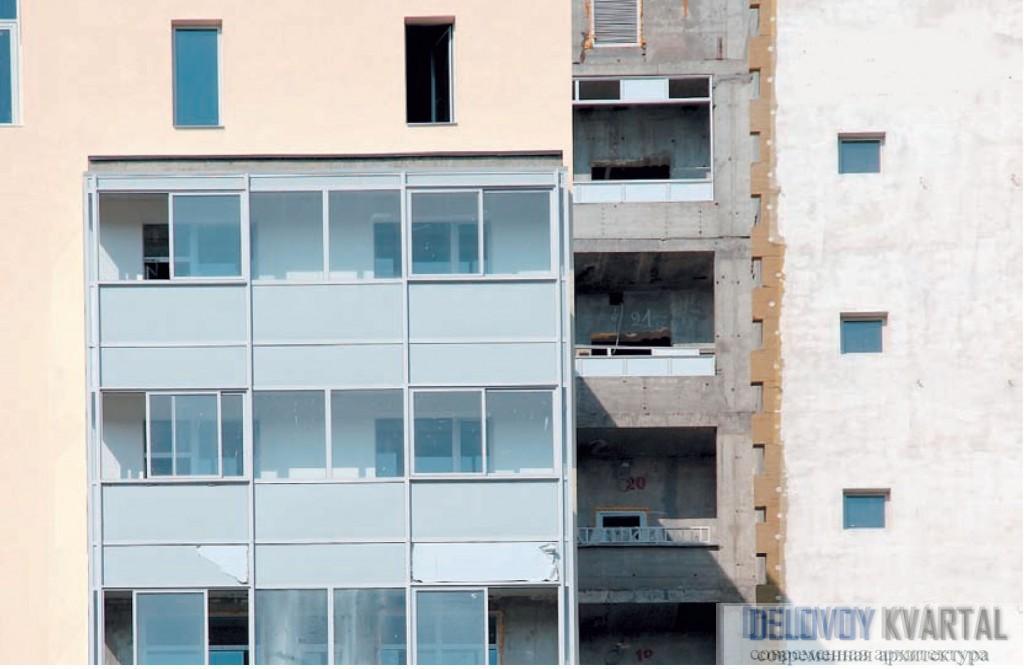 Монтаж штукатурной фасадной системы на строящемся жилом доме. Юго-запад, Москва