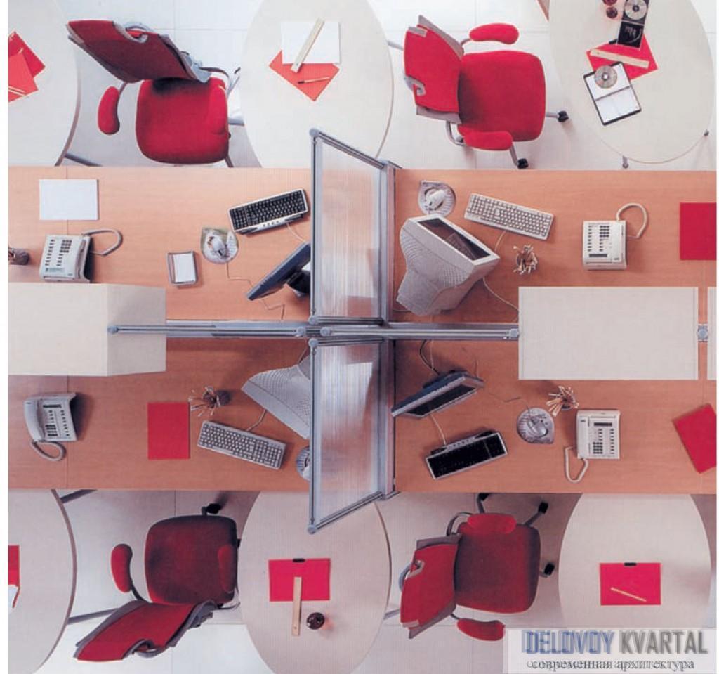 Интерьер архитектурного бюро. Компоновка рабочего места с приставным мобильным столиком. «Соло»