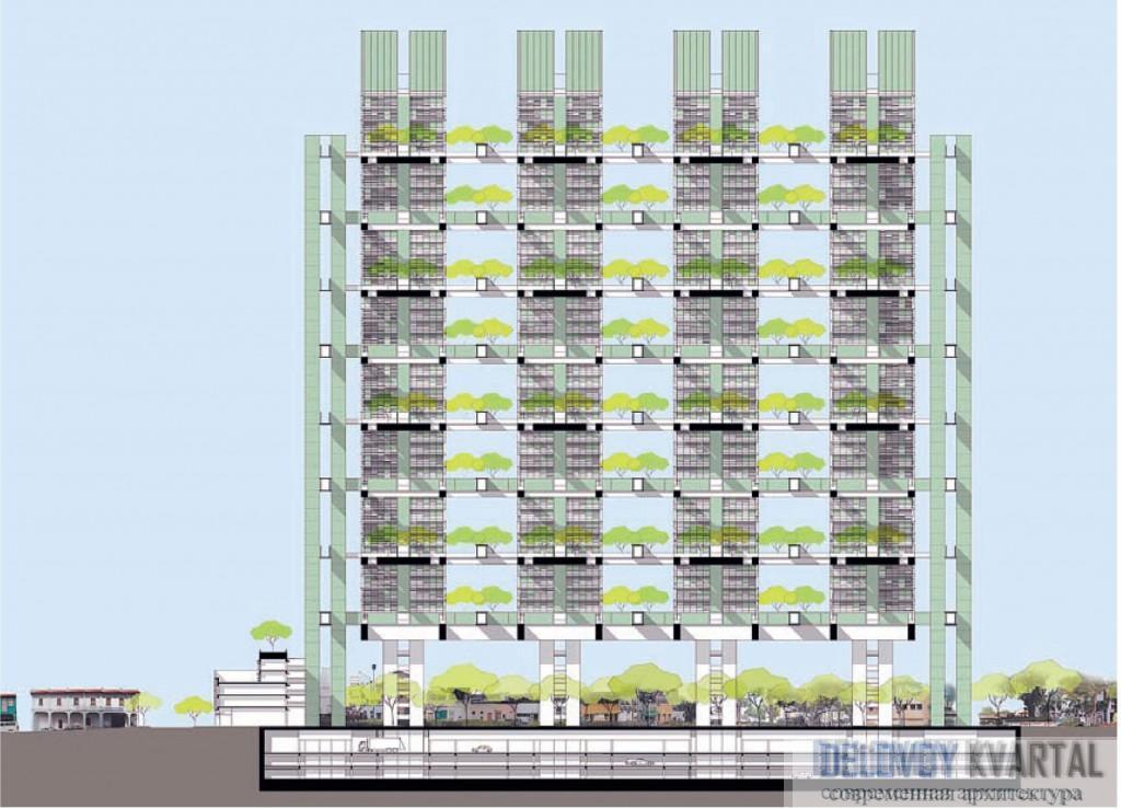 Проект высотного жилого комплекса. Первая премия на конкурсе Duxton Plains Housing Competition (Сингапур). Арх. бюро WOHA