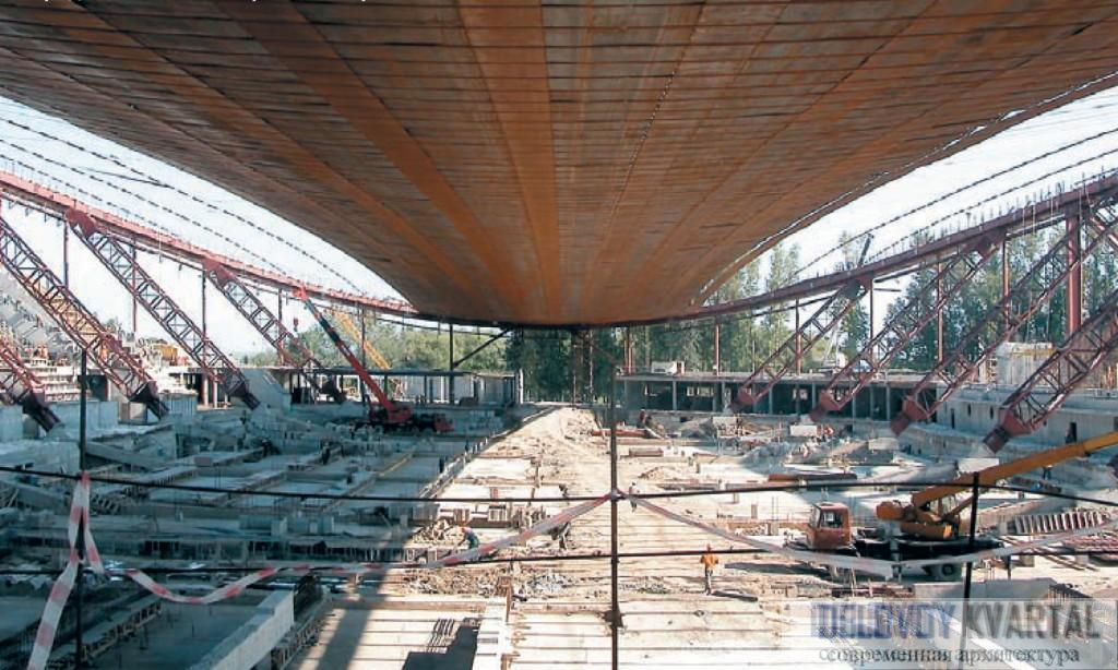 Конькобежный центр Коломна. Раскладка полотнищ мембраны от центральной продольной оси мембраны к ее краям