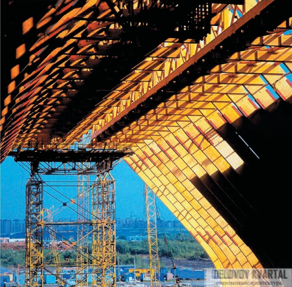 Монтаж конструкций при помощи передвижных временных опор