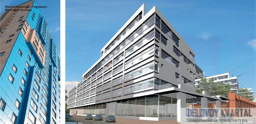 Фасады КРАСПАН. Проект административно-жилого комплекса с городским музеем ретроавтомобилей. ТПО «Резерв»