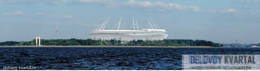 Стадион Крестовский. Вид на здание стадиона со стороны Финского залива