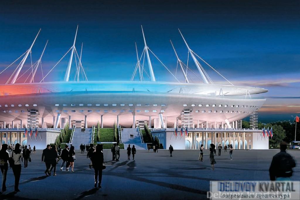 Стадион Крестовский. Компьютерная модель. Вечерняя подсветка стадиона