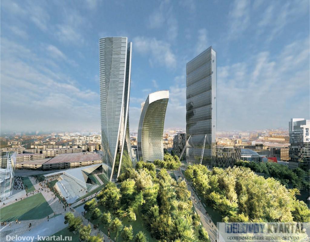 Заха Хадид. Проект реконструкции делового центра Милана (2004). Помимо Захи Хадид, в проекте участвовали Арата Исодзаки, Даниэль Либескинд и Пьер Паоло Маджиора