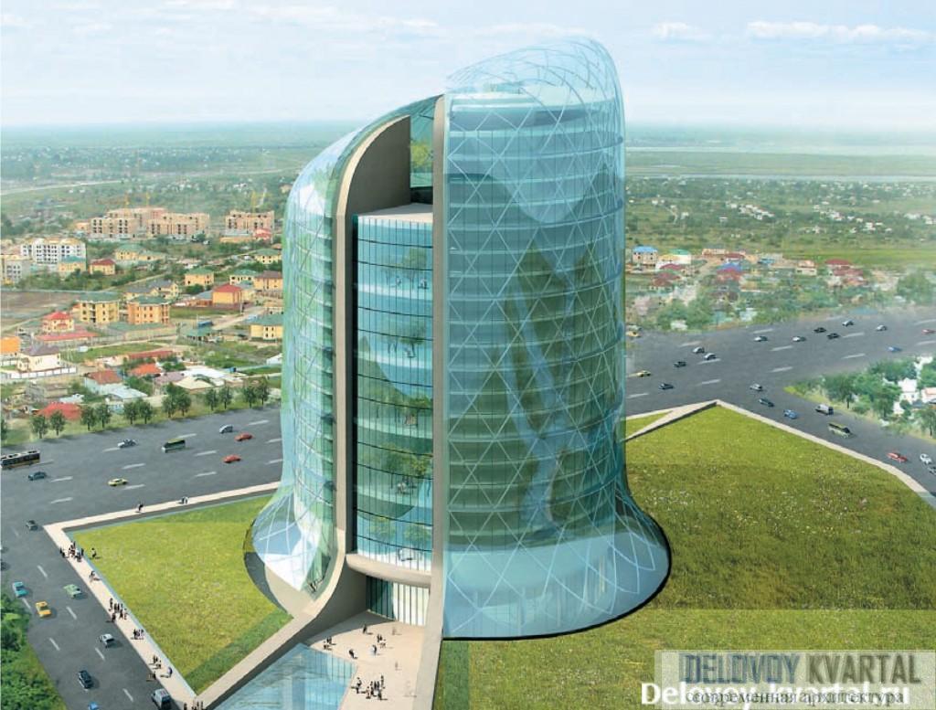Компьютерная модель здания: две башни на едином стилобате
