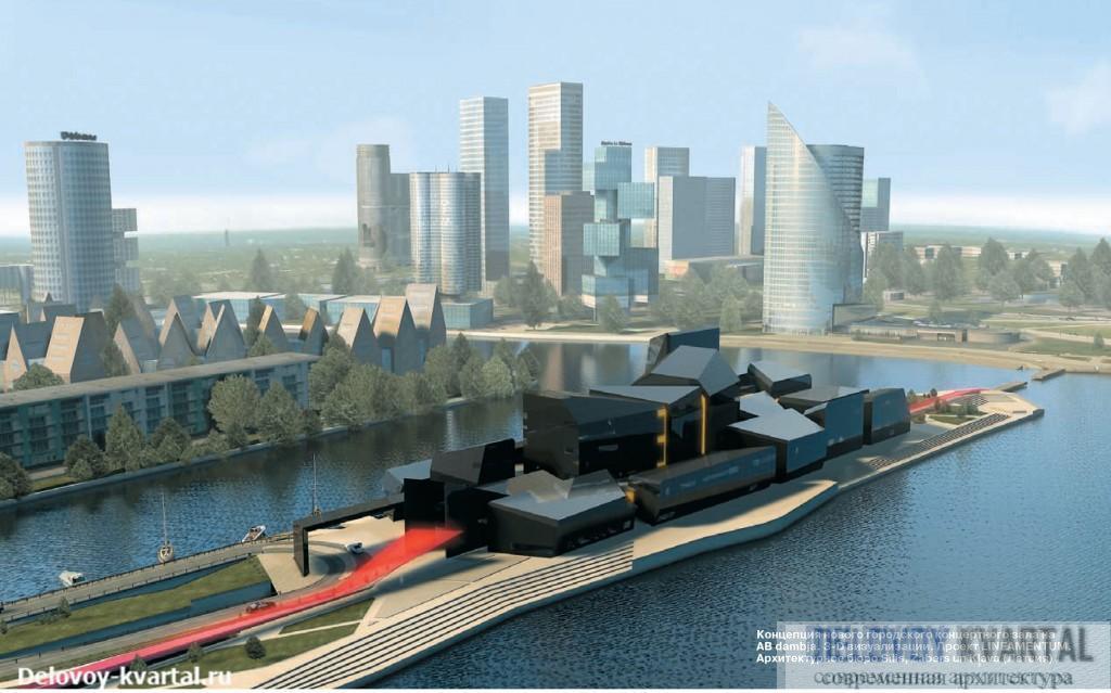 Концепция нового городского концертного зала на AB dambja. 3-D визуализации. Проект LINEAMENTUM. Архитектурное бюро Sīlis, Zābers un Klava (Латвия). Архитектура Риги
