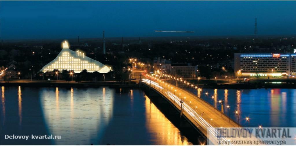 Архитектура Риги. Проект Национальной библиотеки Латвии. Район Mukusala. Архитектор Гунар Биркерт. Ночной вид со стороны Старого города