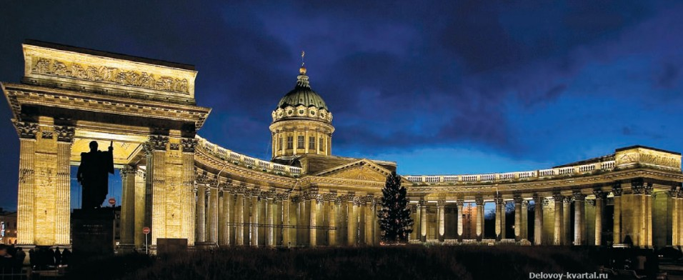 Панорама Казанского собора ночьюм