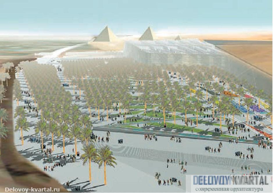 Большой египетский музей. Вид с высоты птичьего полета