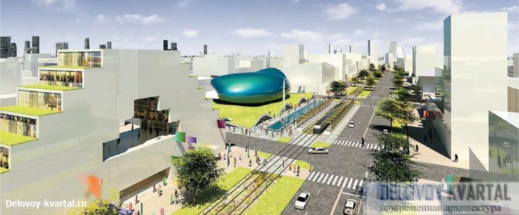 Жилые и общественные здания будущего города будет отличать яркая архитектура