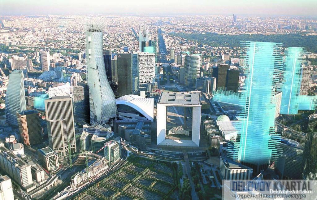 Вид на «Дефанс будущего». Слева от Арки Дефанса и здания CNIT – башня Phare Тома Мейна