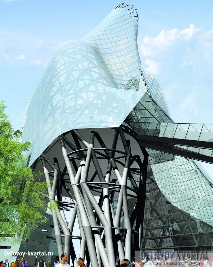 Подножие башни Phare. Эскалаторы соединяют низкую пристройку, примыкающую к зданию CNIT