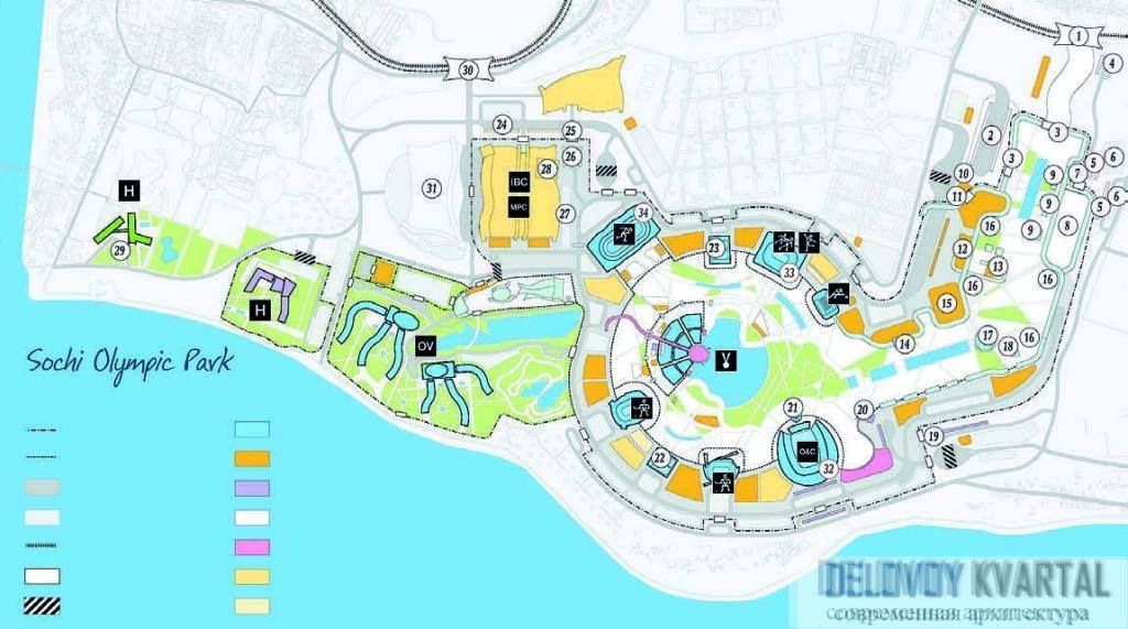 План расположения олимпийских объектов
