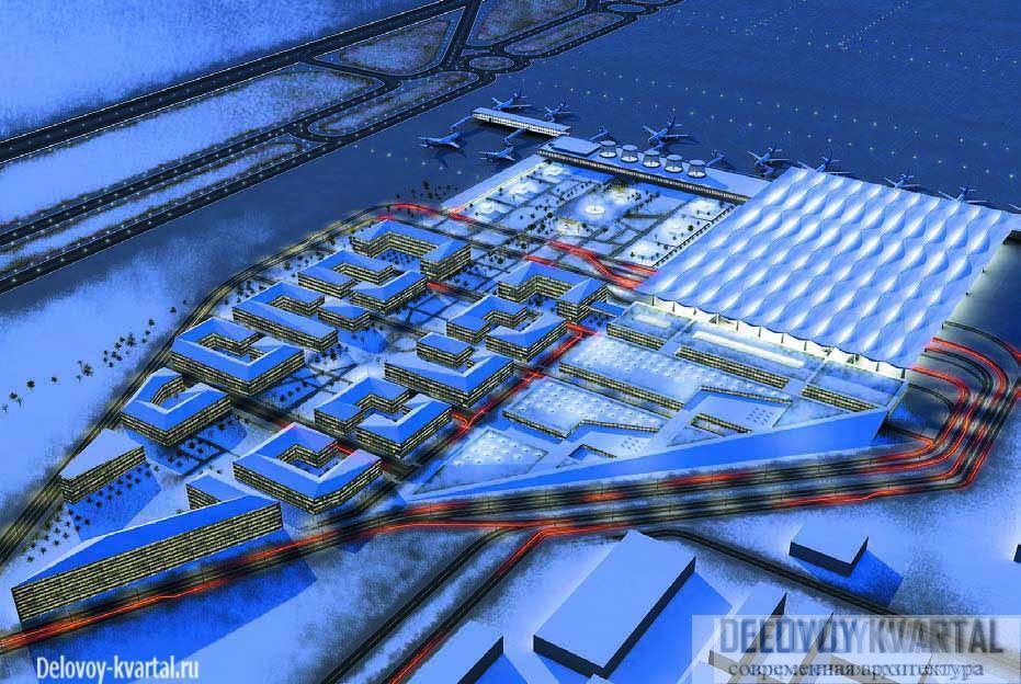 Пулково. Общий план застройки территории по форме напоминает крыло самолета