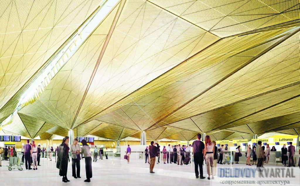 Пулково. Острые грани внутренних объемов крыши формируют пространство верхнего уровня терминала