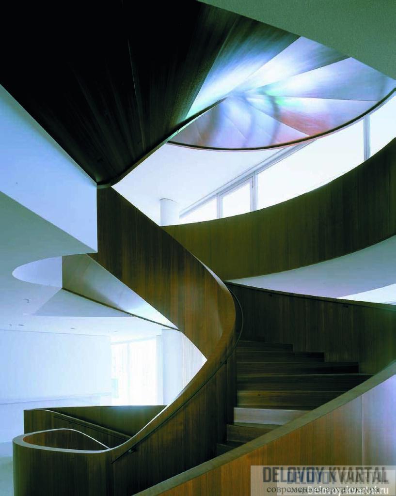Винтовая лестница из темного ореха в стерильном пространстве офисов выглядит как футуристическая скульптура