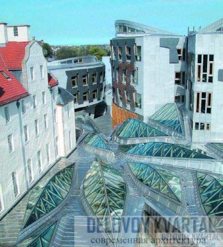 Здание парламента Шотландии.Вид из окон депутатских кабинетов