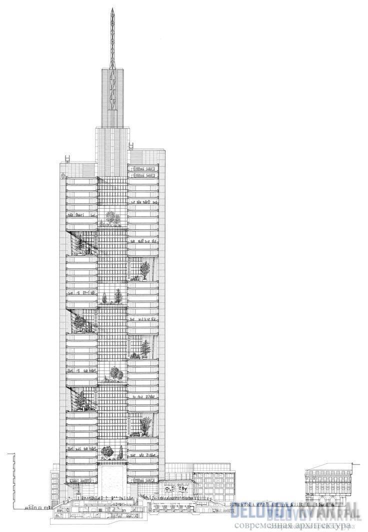 Чертеж вертикального сечения здания Коммерцбанка. Оно состоит из блоков и пустых пространств с висячими садами, овеваемыми восходящими потоками воздуха. Такая система способствует созданию внутри небоскреба особого микроклимата.