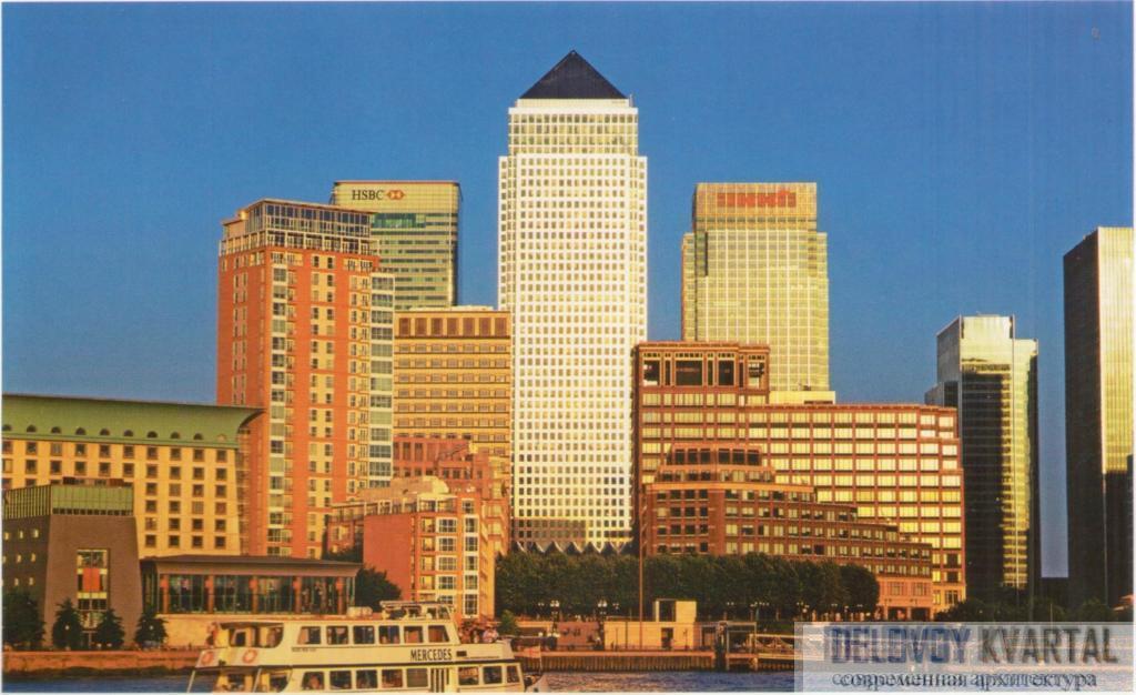 Панорама -Кэнари Варф- со стороны Темзы. Лондон, Великобритания