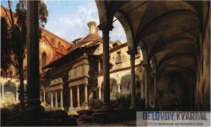 К.-Г. Берлин. Двор с капеллой Пацци в церкви Санта-Кроче. 1858 г.