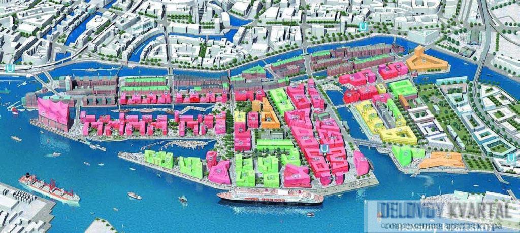Схема развития района Хафенсити. 3D-модель