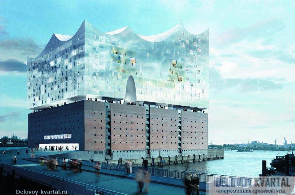 В роли своеобразного подиума здания Эльбской филармонии выступит кирпичный складской объем