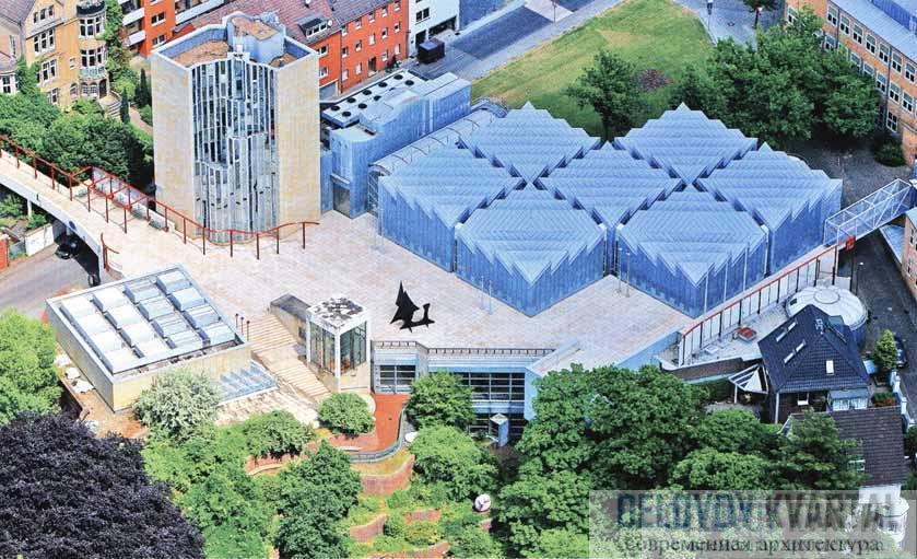 Вид на Музей современного искусства Абтайберг с высоты птичьего полета
