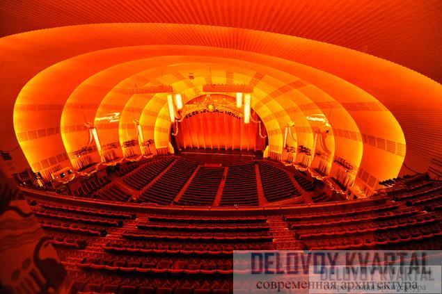 Мюзик-холл Радио-сити в Рокфеллер-центре в Нью-Йорке. В оформлении интерьера использованы деревянная облицовка, узорчатый орнамент, зеркала и декоративные элементы из металла.