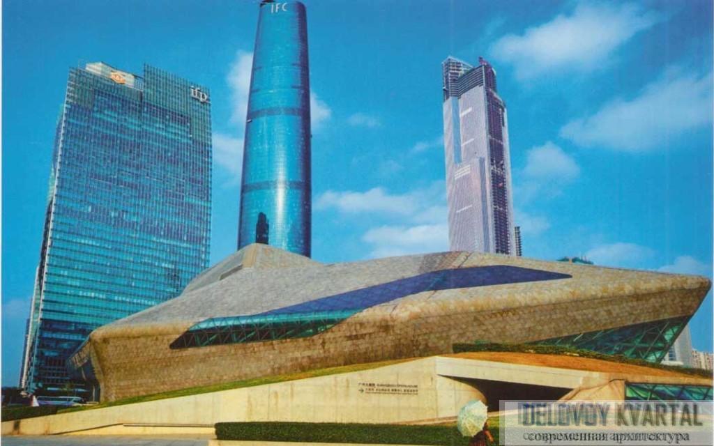 Вид здания на фоне башен Чжуцзян