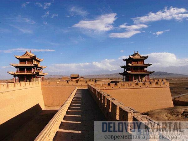 Жилой павильон на одной из башен заставы Цзяюйгуань в провинции Ганьсу