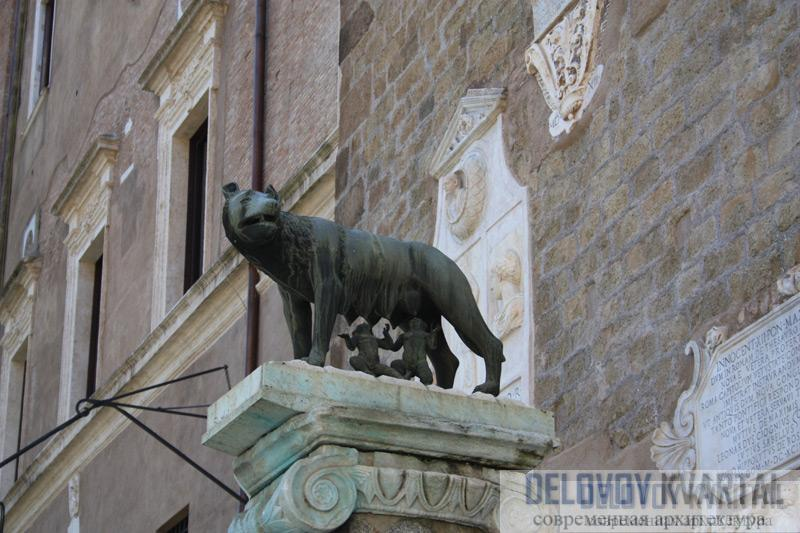 Этрусская статуя волчицы, кормящей легендарных основателей Рима