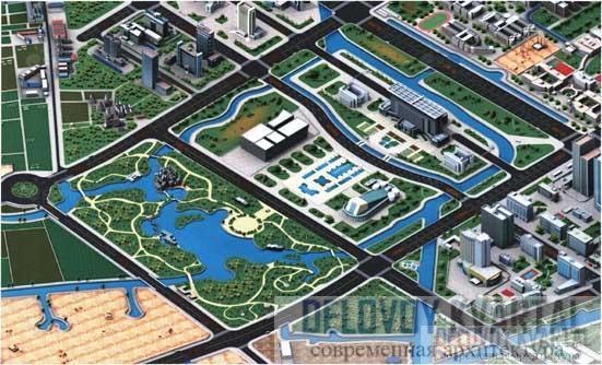 План парка. Вокруг озера — пять «разбросанных» домов