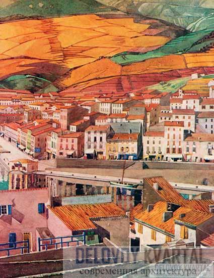 Ч.-Р. Макинтош. «Порт-Вендрес. Город». Акварель на холсте. 1925 искусства
