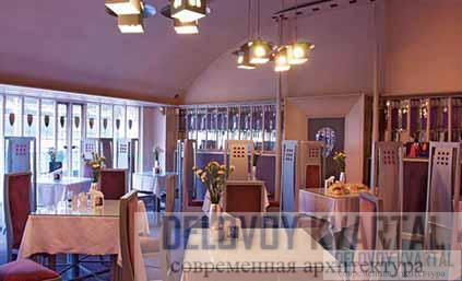Ивовые чайные комнаты. Главный зал Рум де Люкс Чайные комнаты на Ингрэм-стрит. Декоративное панно дамской комнаты для завтраков