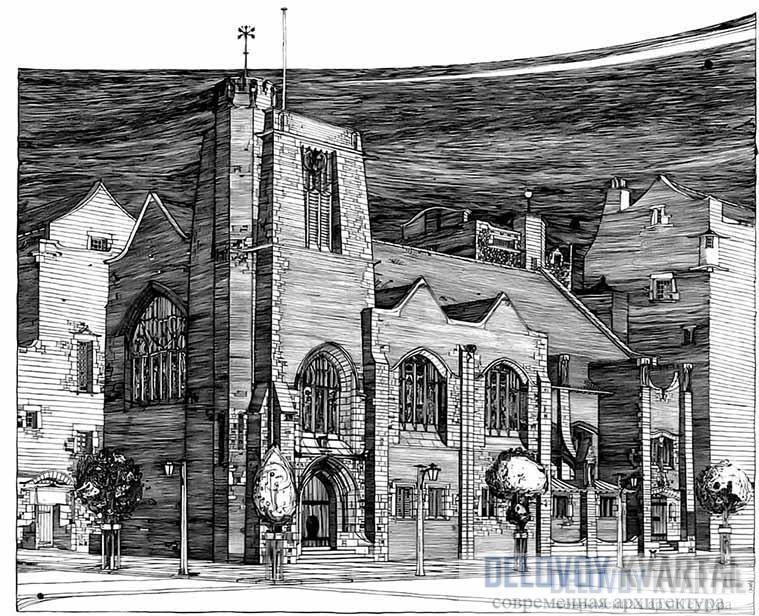 Ч. Р. Макинтош. Эскиз церкви