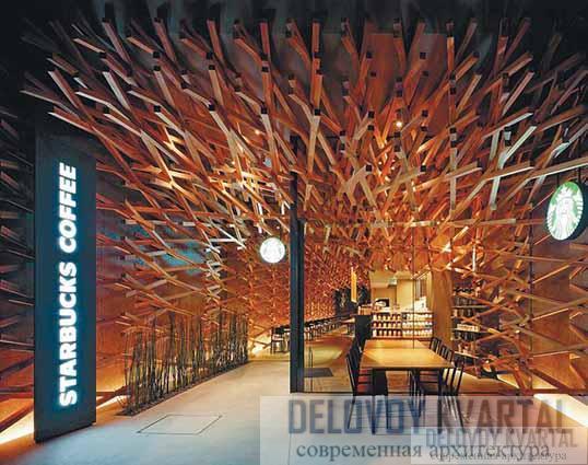 Кофейня «Старбакс», Япония (арх. К. Кума)
