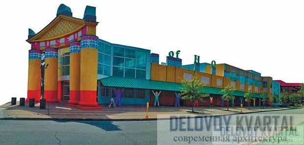 Детский музей в Хьюстоне. Портик и галерея с «атлантами»