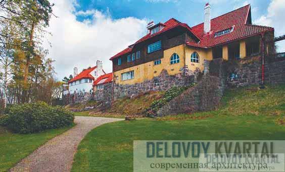 Панорама усадьбы: дом Сааринена, студия, дом Линдгрена. Вид со стороны озера Виттреск