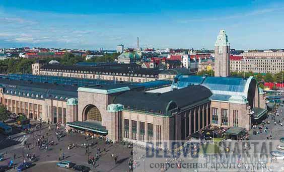 Вид на вокзал с высоты птичьего полета. Хельсинки, Финляндия