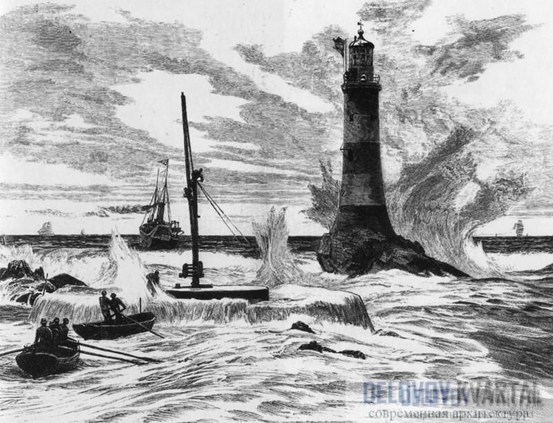 Эддистоунский маяк на гравюре 18 в.