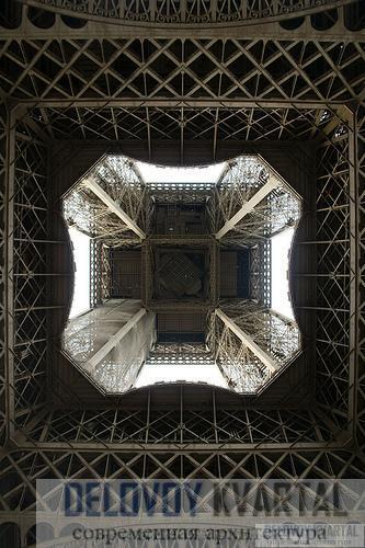 Вид из-под Эйфелевой башни, если взглянуть вверх