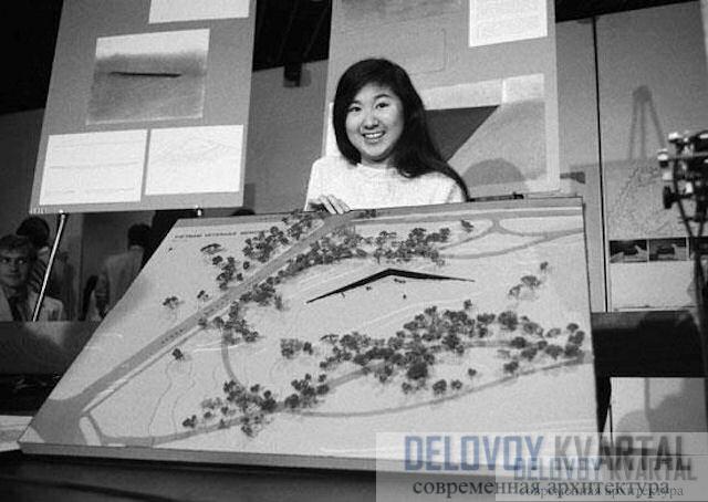 Майя Инь Лин со своим проектом мемориала, который победил в конкурсе